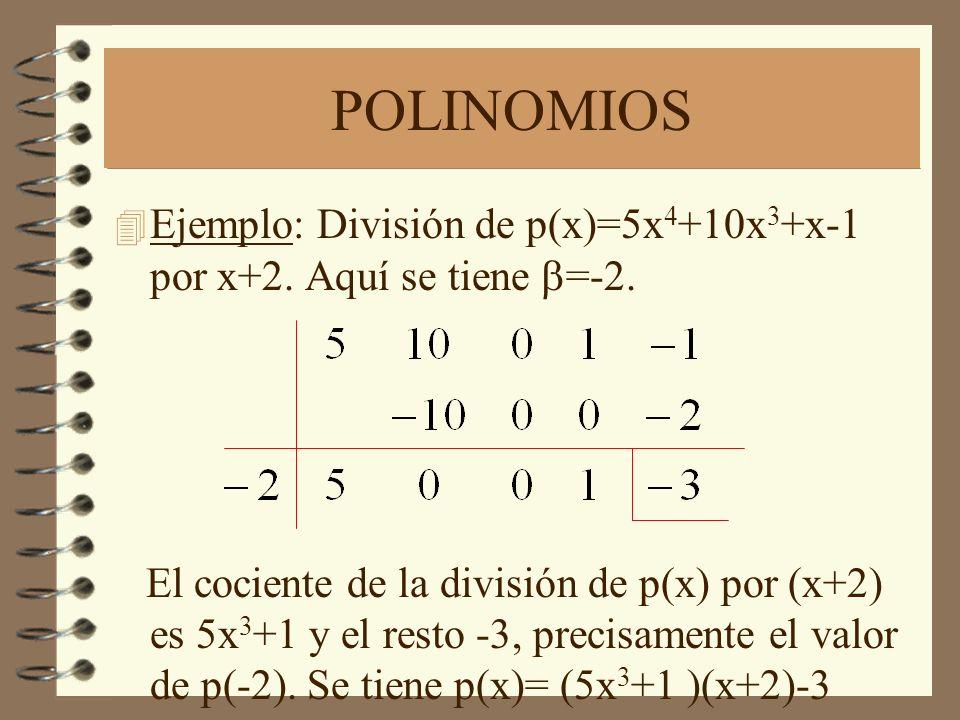 POLINOMIOS Ejemplo: División de p(x)=5x4+10x3+x-1 por x+2. Aquí se tiene b=-2.