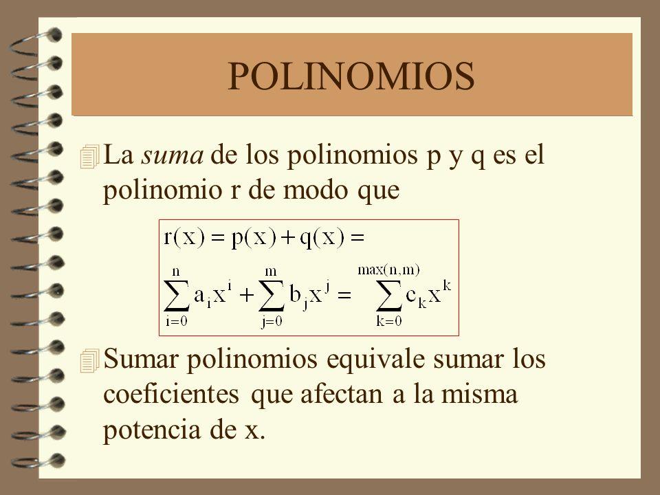 POLINOMIOS La suma de los polinomios p y q es el polinomio r de modo que.