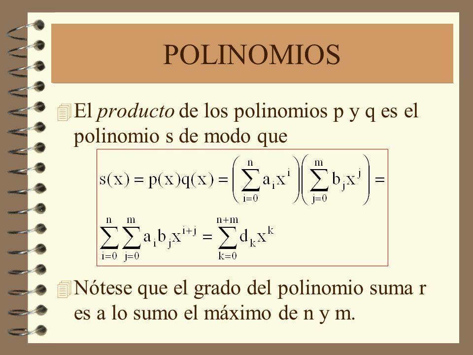 POLINOMIOS El producto de los polinomios p y q es el polinomio s de modo que.