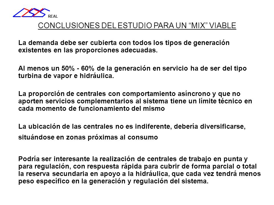 CONCLUSIONES DEL ESTUDIO PARA UN MIX VIABLE
