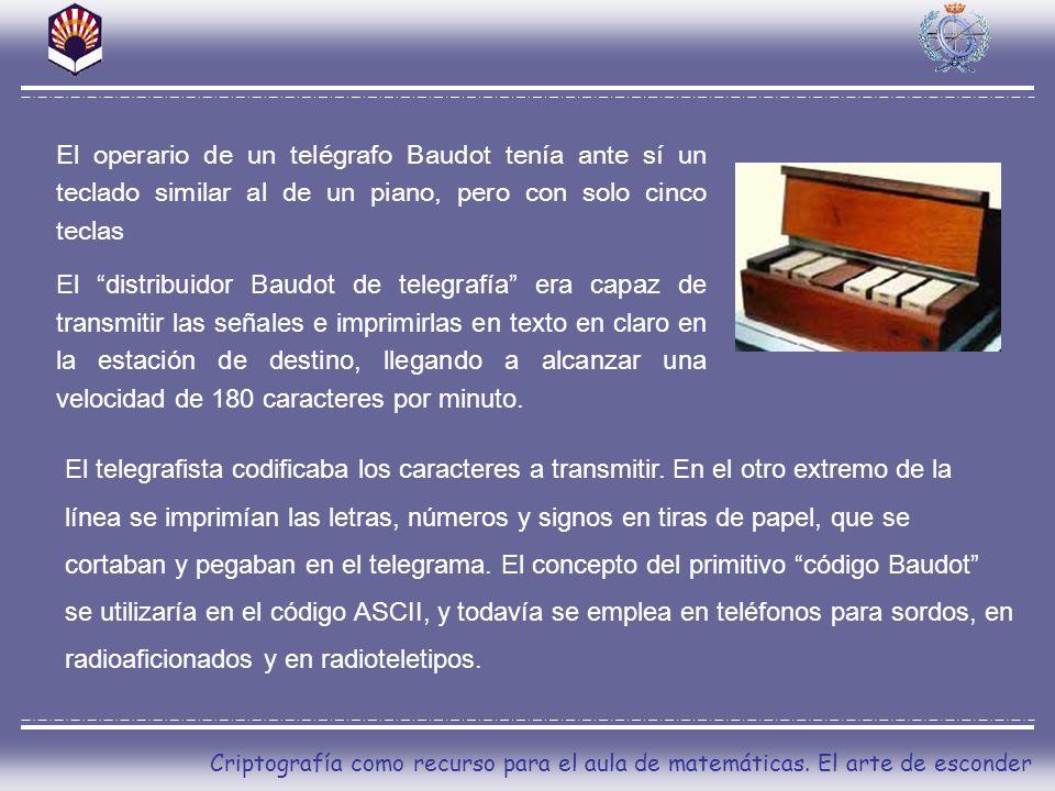 El operario de un telégrafo Baudot tenía ante sí un teclado similar al de un piano, pero con solo cinco teclas