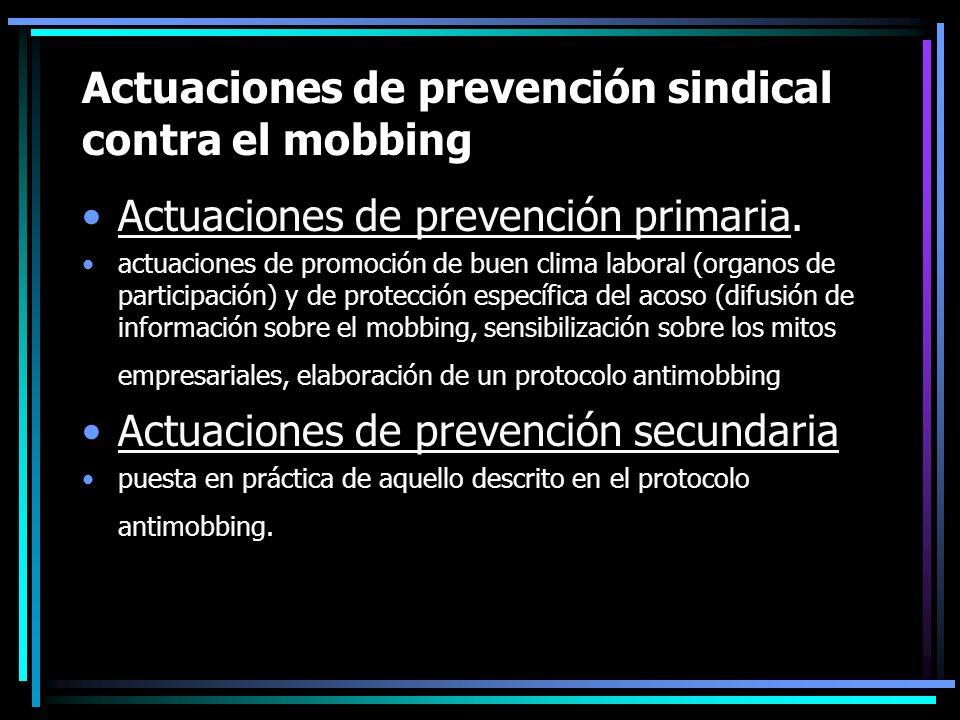 Actuaciones de prevención sindical contra el mobbing