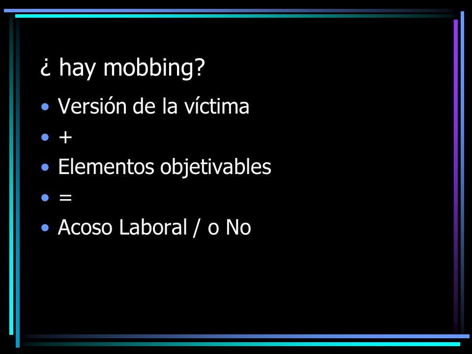 ¿ hay mobbing Versión de la víctima + Elementos objetivables =