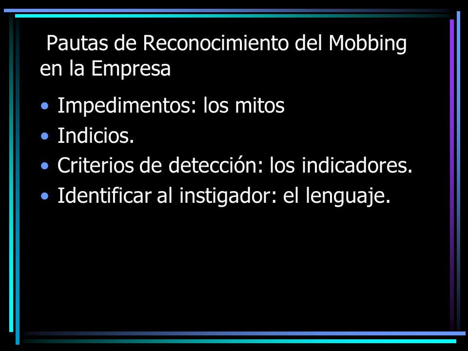 Pautas de Reconocimiento del Mobbing en la Empresa