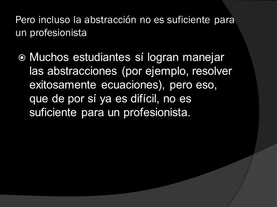 Pero incluso la abstracción no es suficiente para un profesionista