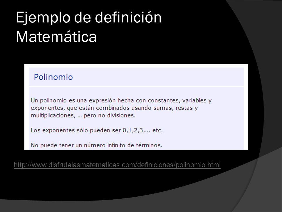 Ejemplo de definición Matemática