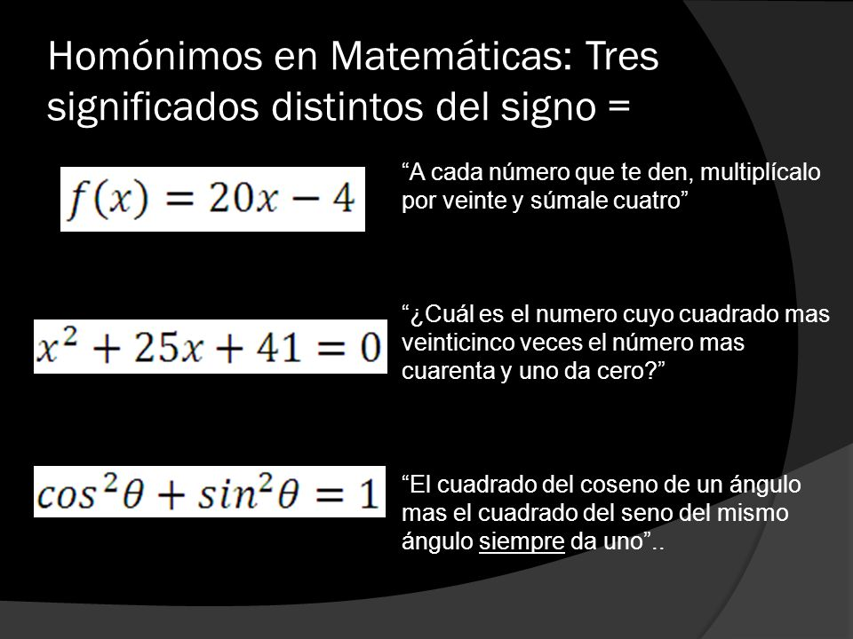 Homónimos en Matemáticas: Tres significados distintos del signo =