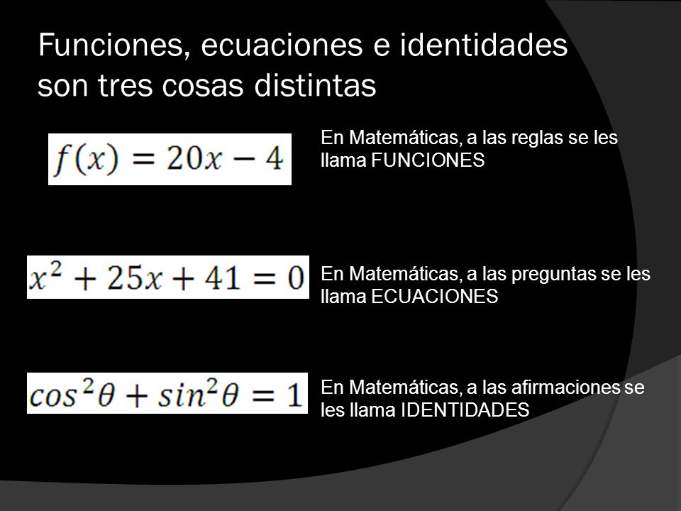 Funciones, ecuaciones e identidades son tres cosas distintas