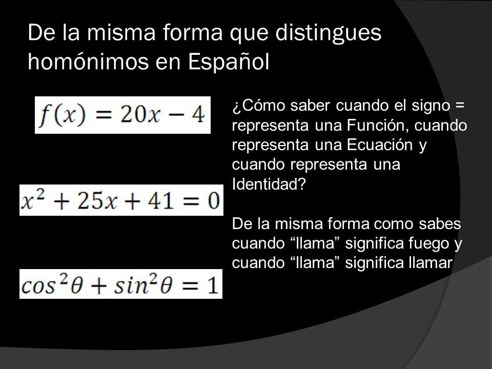 De la misma forma que distingues homónimos en Español