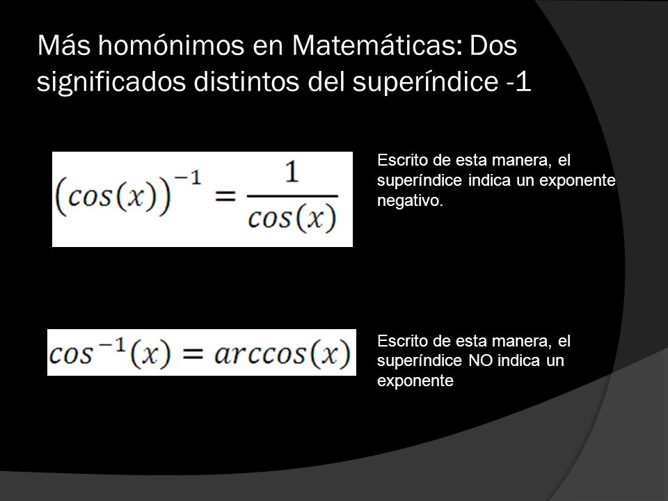 Más homónimos en Matemáticas: Dos significados distintos del superíndice -1
