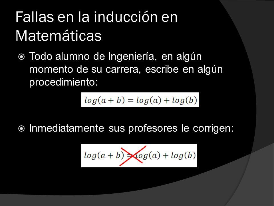 Fallas en la inducción en Matemáticas