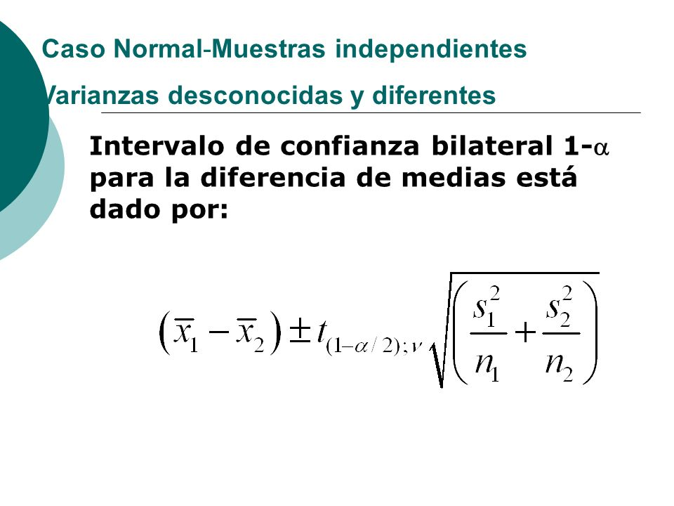 Caso Normal-Muestras independientes