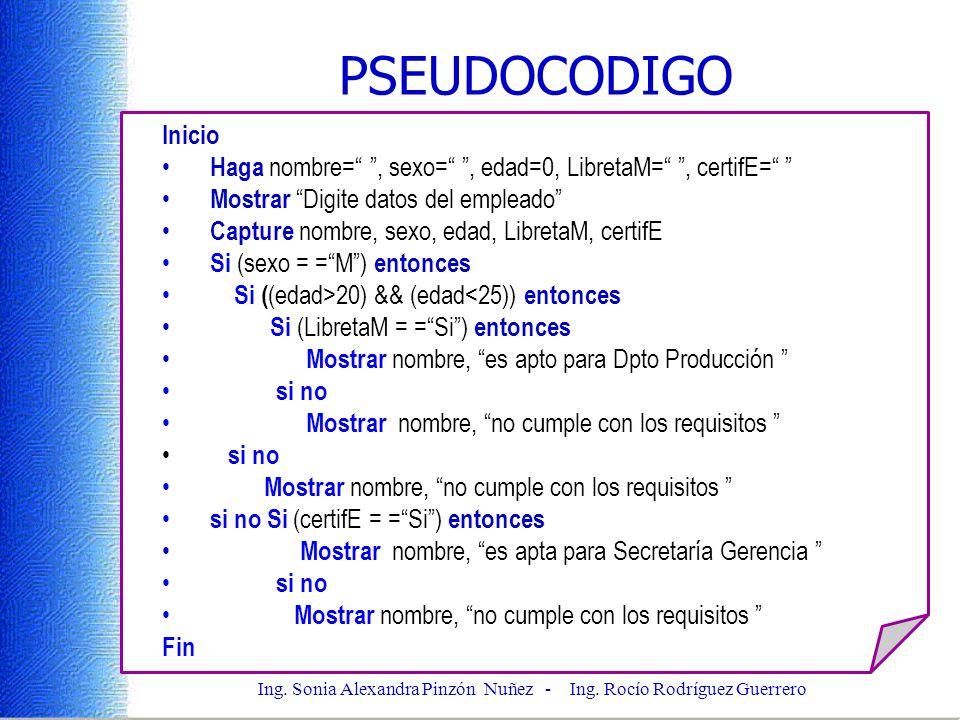 Ing. Sonia Alexandra Pinzón Nuñez - Ing. Rocío Rodríguez Guerrero