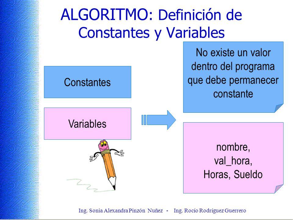 ALGORITMO: Definición de Constantes y Variables