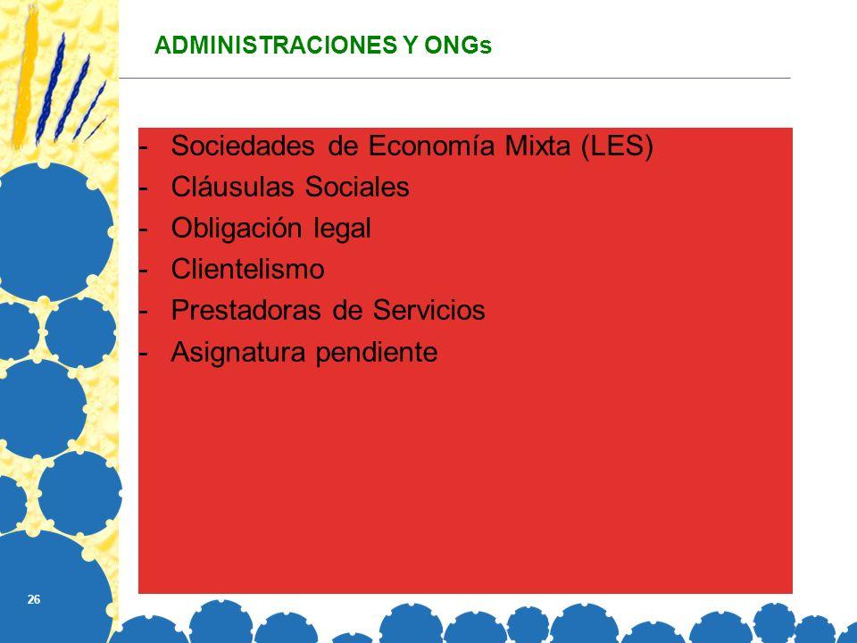ADMINISTRACIONES Y ONGs
