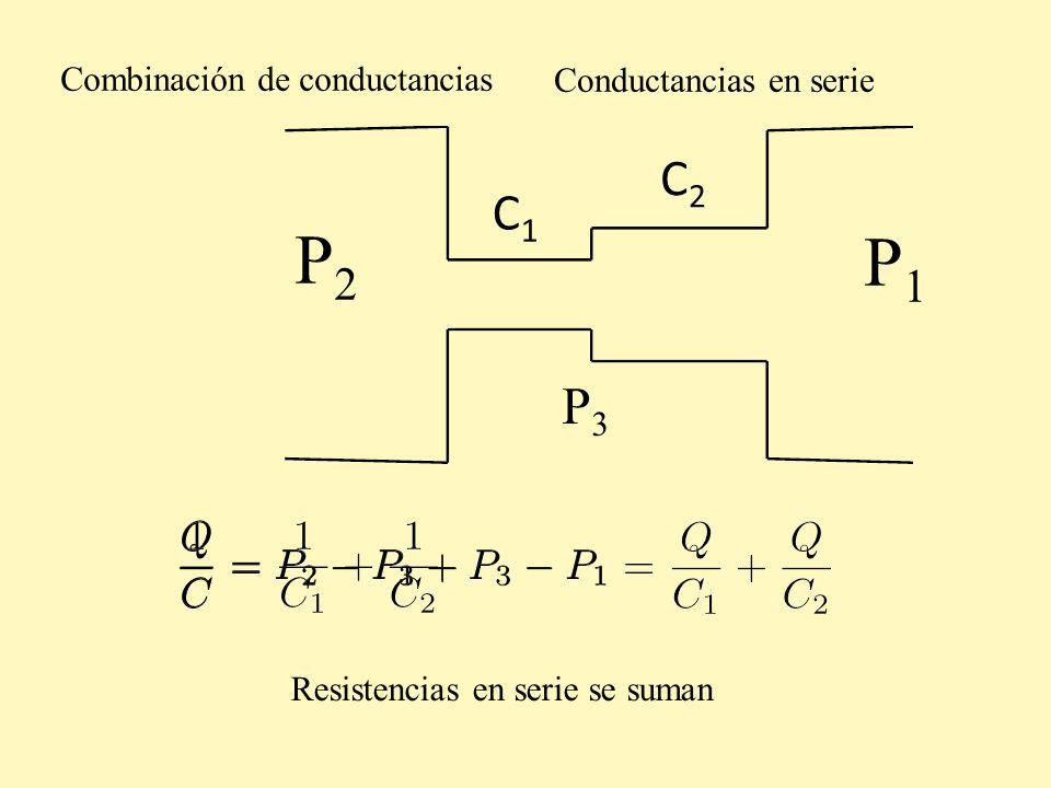 P2 P1 C2 C1 P3 Combinación de conductancias Conductancias en serie