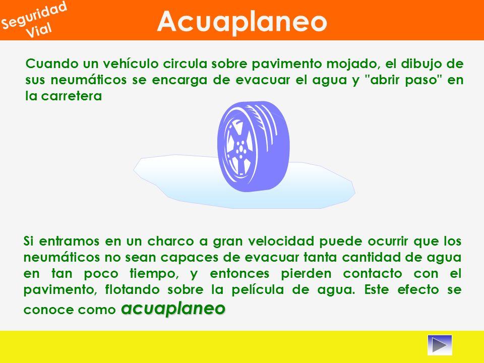 Cuando un vehículo circula sobre pavimento mojado, el dibujo de sus neumáticos se encarga de evacuar el agua y abrir paso en la carretera