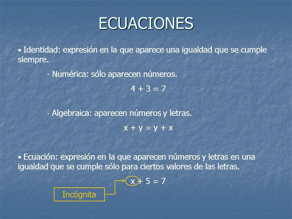 ECUACIONES 4 + 3 = 7 x + y = y + x x + 5 = 7 Incógnita