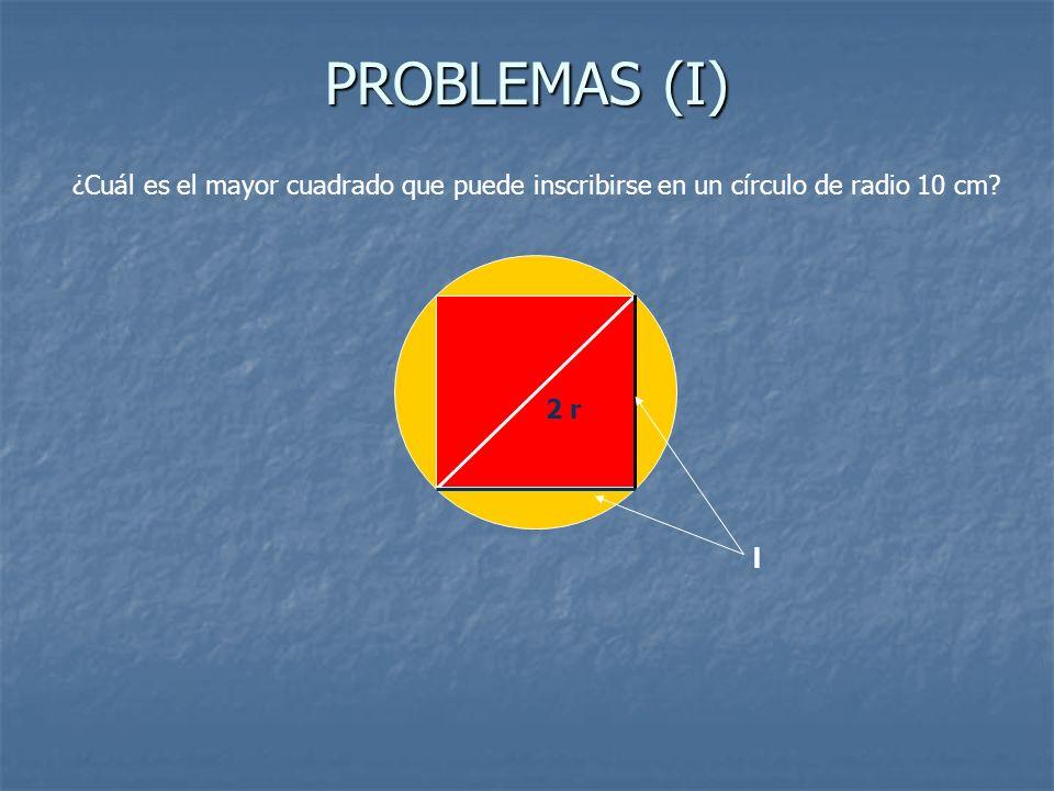 PROBLEMAS (I) ¿Cuál es el mayor cuadrado que puede inscribirse en un círculo de radio 10 cm 2 r l
