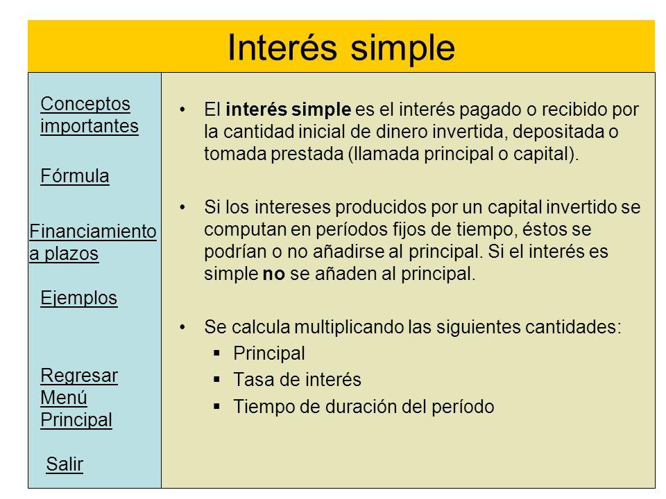 Interés simple Conceptos importantes