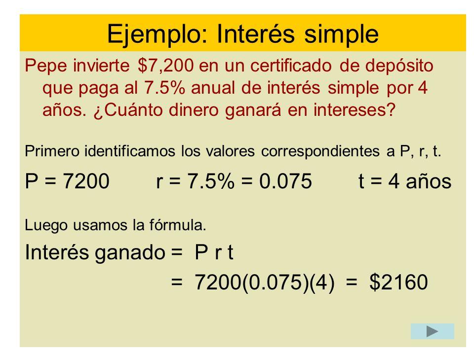 Ejemplo: Interés simple