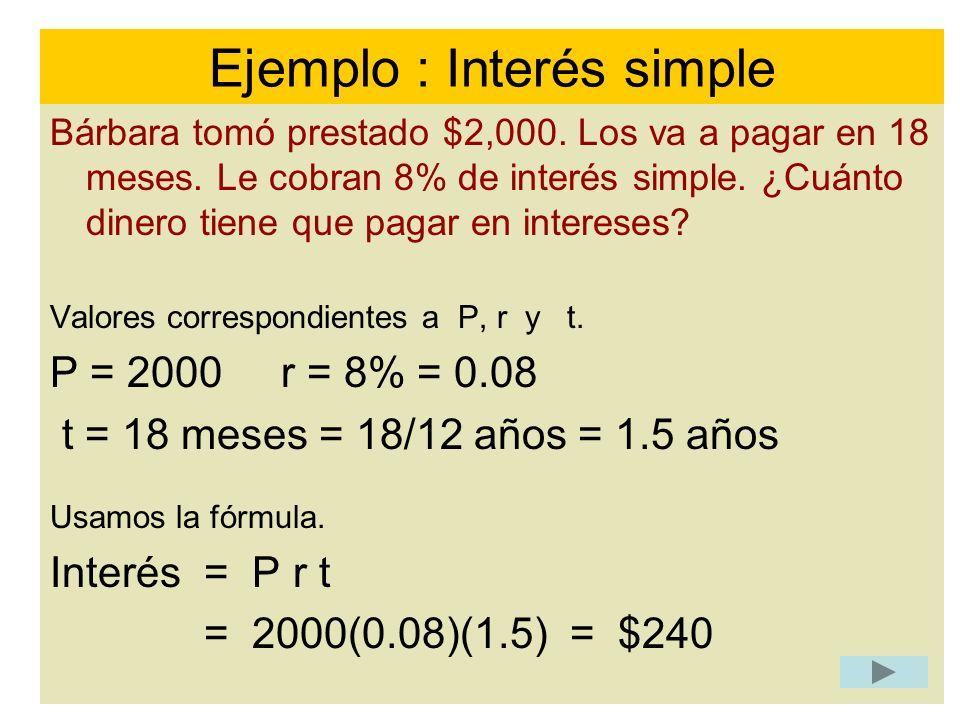 Ejemplo : Interés simple