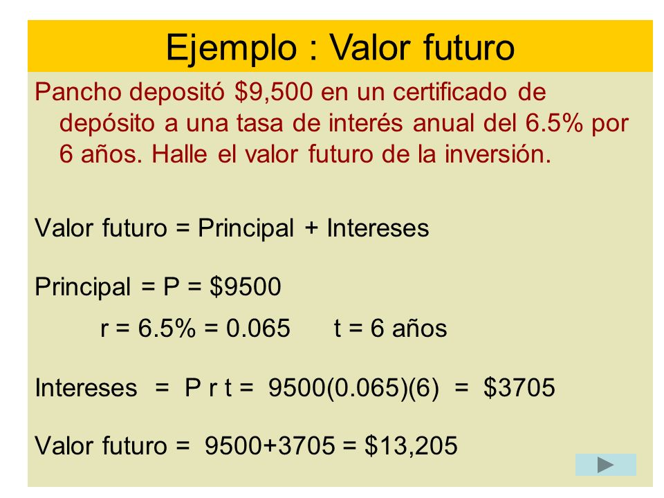 Ejemplo : Valor futuro r = 6.5% = 0.065 t = 6 años
