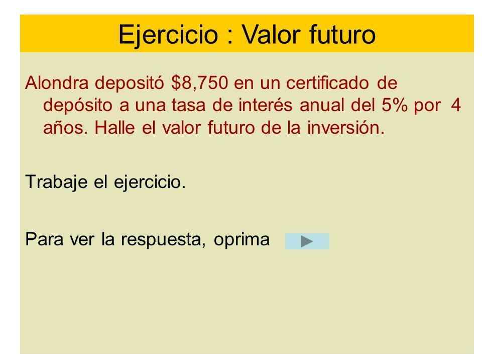 Ejercicio : Valor futuro