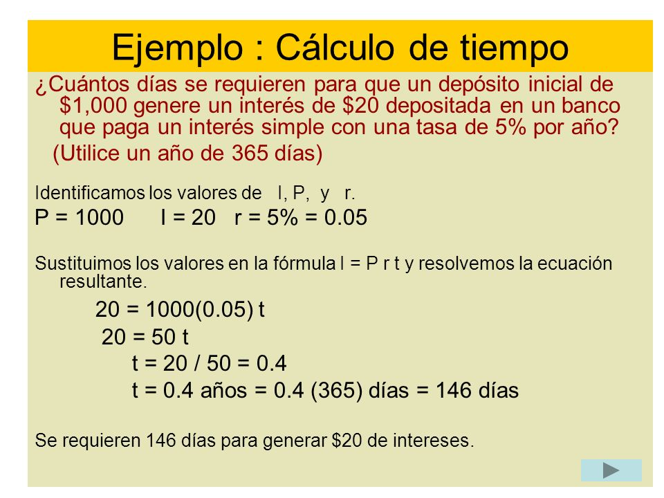 Ejemplo : Cálculo de tiempo