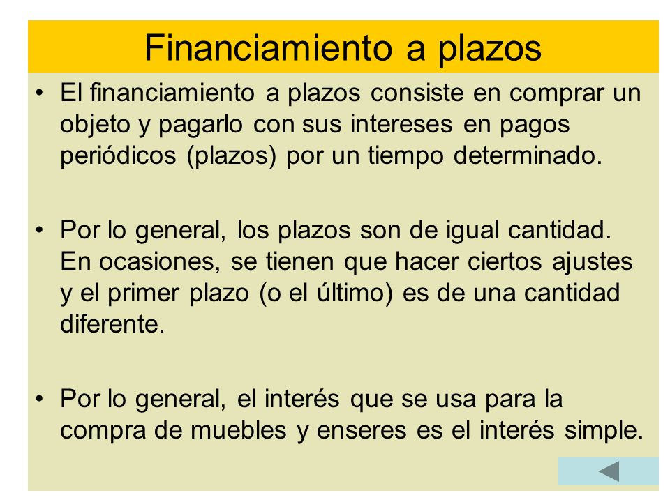 Financiamiento a plazos