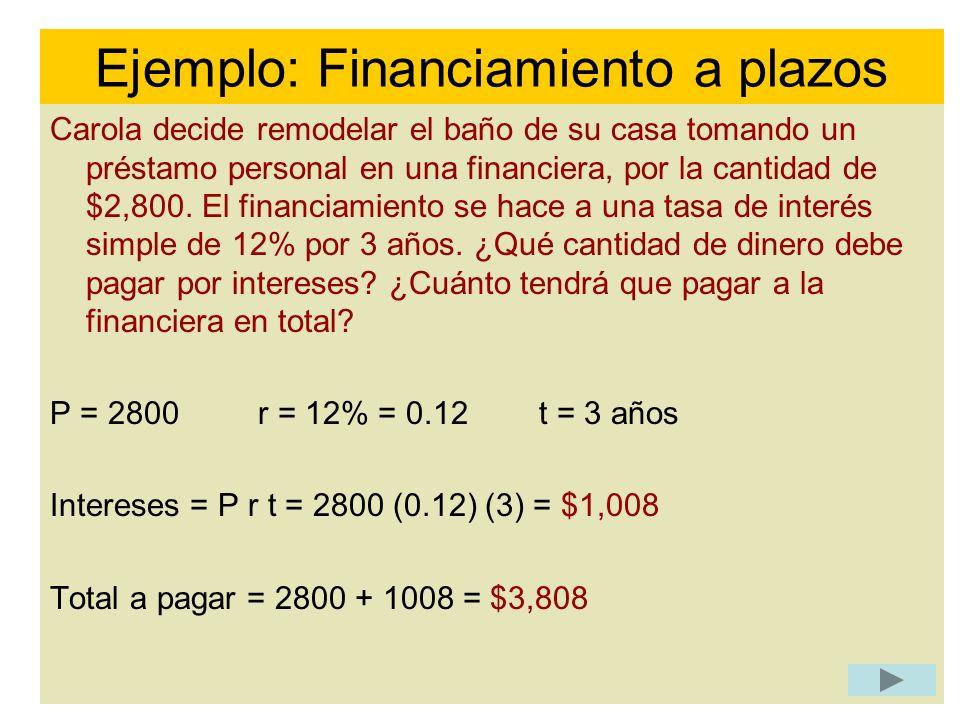 Ejemplo: Financiamiento a plazos