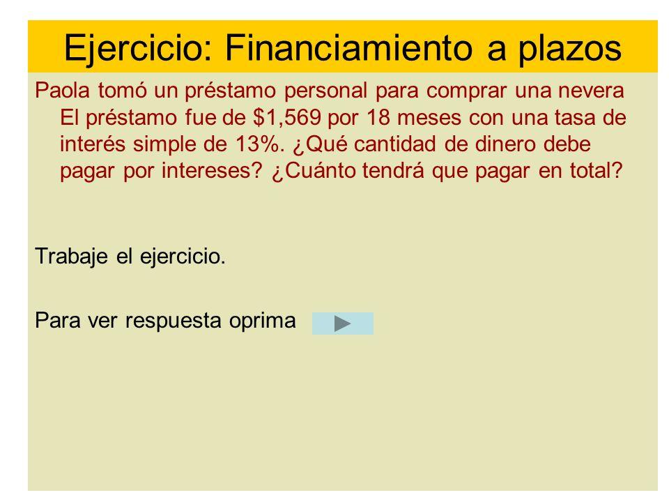 Ejercicio: Financiamiento a plazos