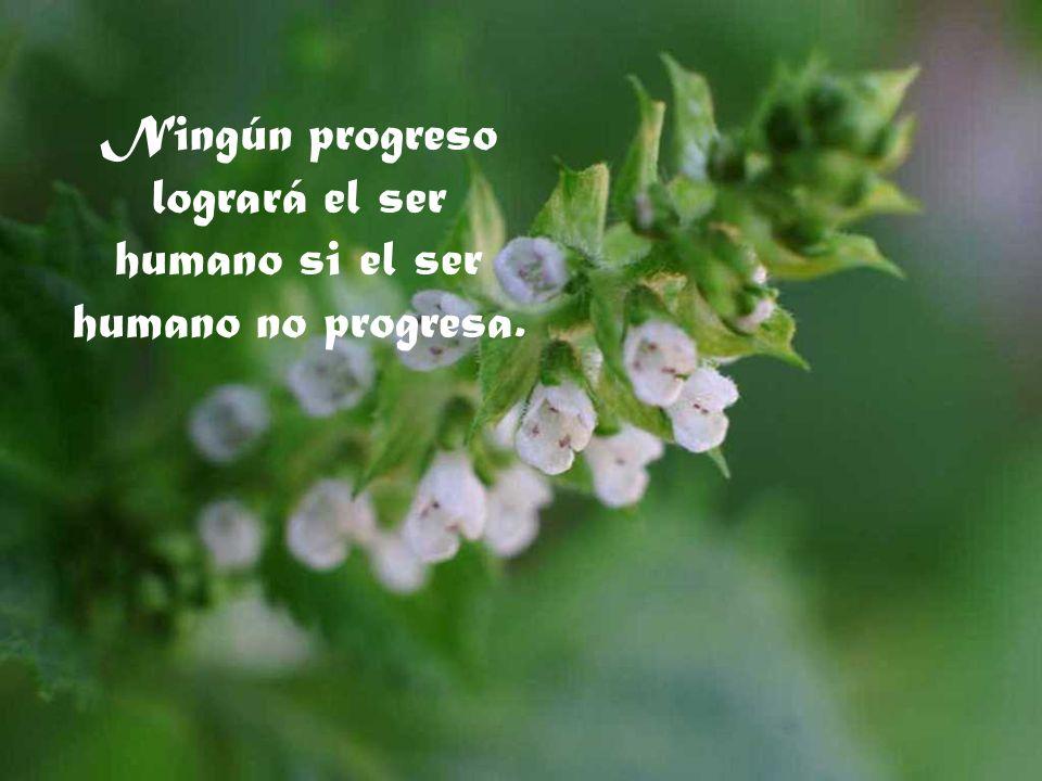 Ningún progreso logrará el ser humano si el ser humano no progresa.