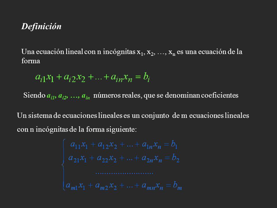 Definición Una ecuación lineal con n incógnitas x1, x2, …, xn es una ecuación de la forma.