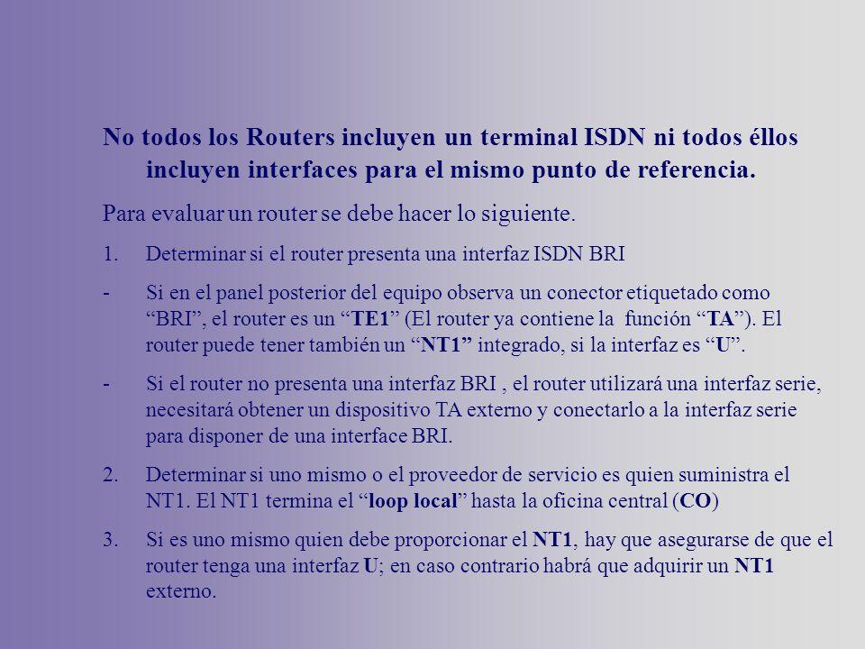 No todos los Routers incluyen un terminal ISDN ni todos éllos incluyen interfaces para el mismo punto de referencia.