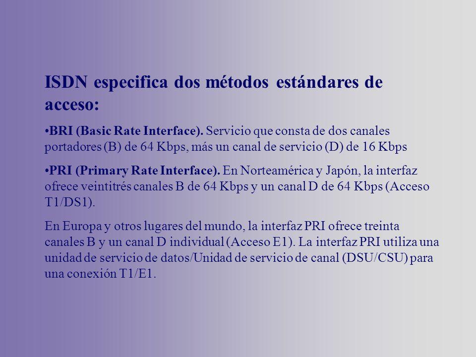 ISDN especifica dos métodos estándares de acceso: