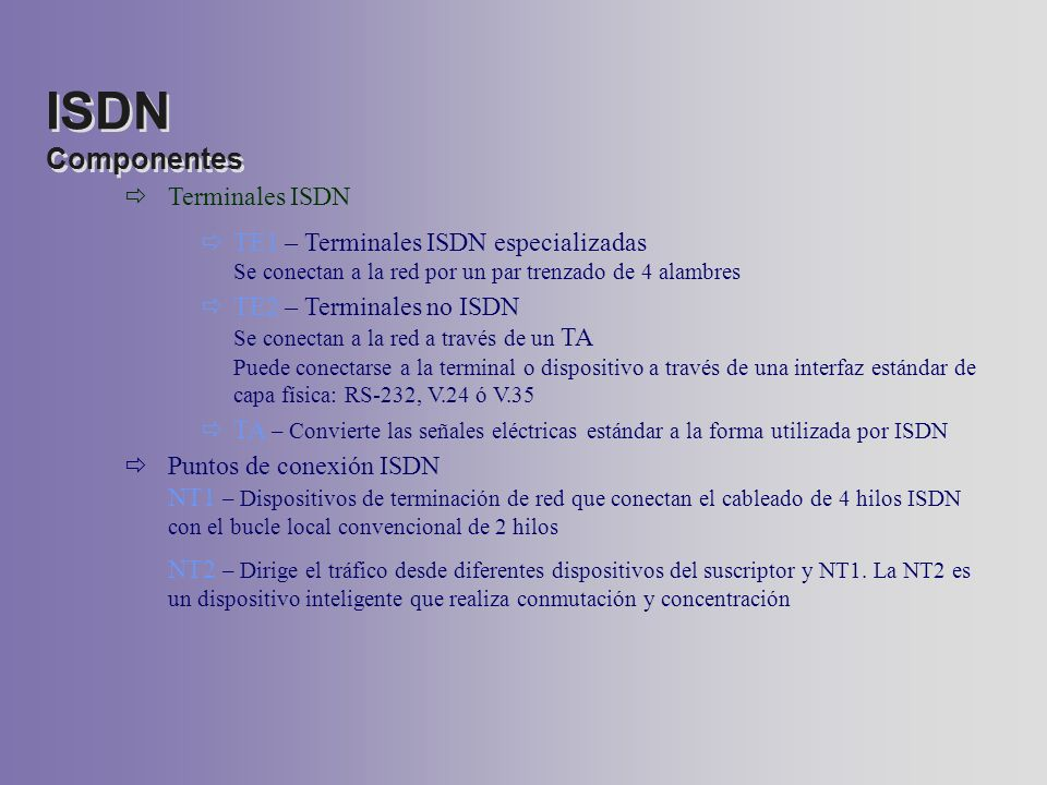 ISDN Componentes Terminales ISDN