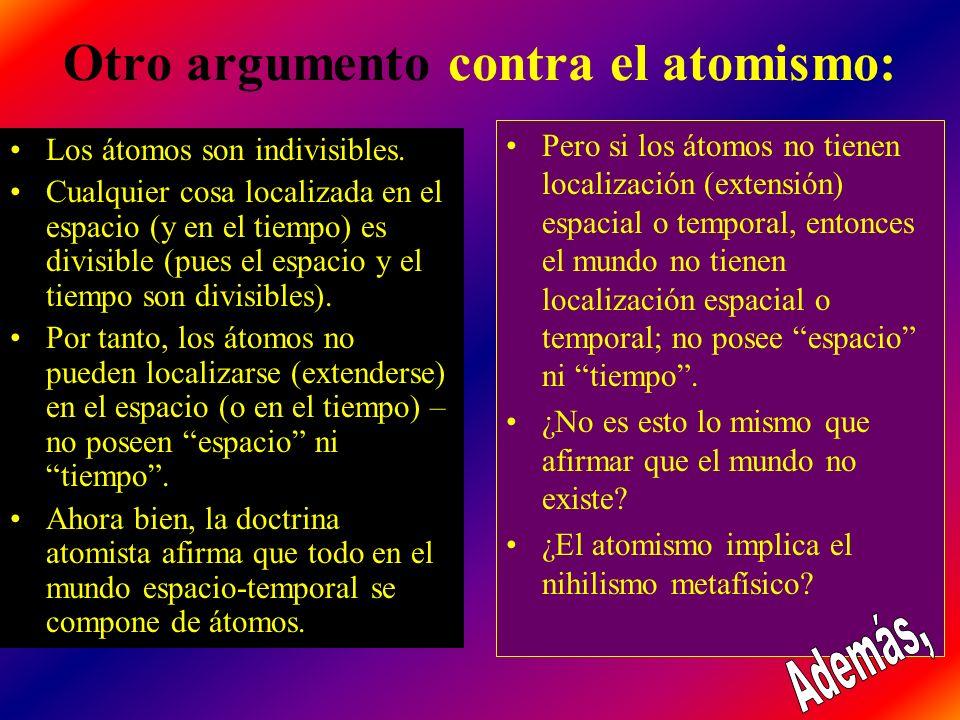 Otro argumento contra el atomismo: