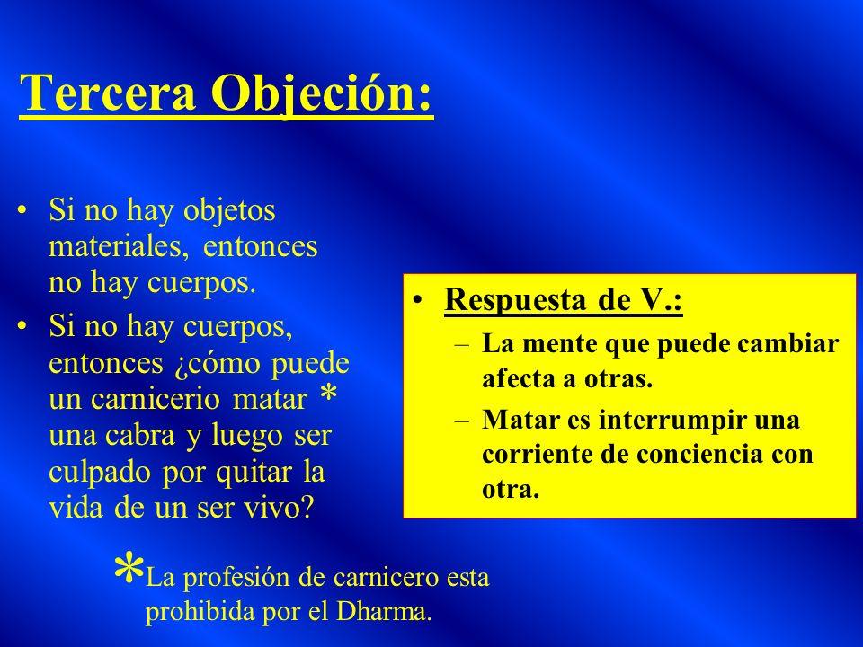 Tercera Objeción: Si no hay objetos materiales, entonces no hay cuerpos.