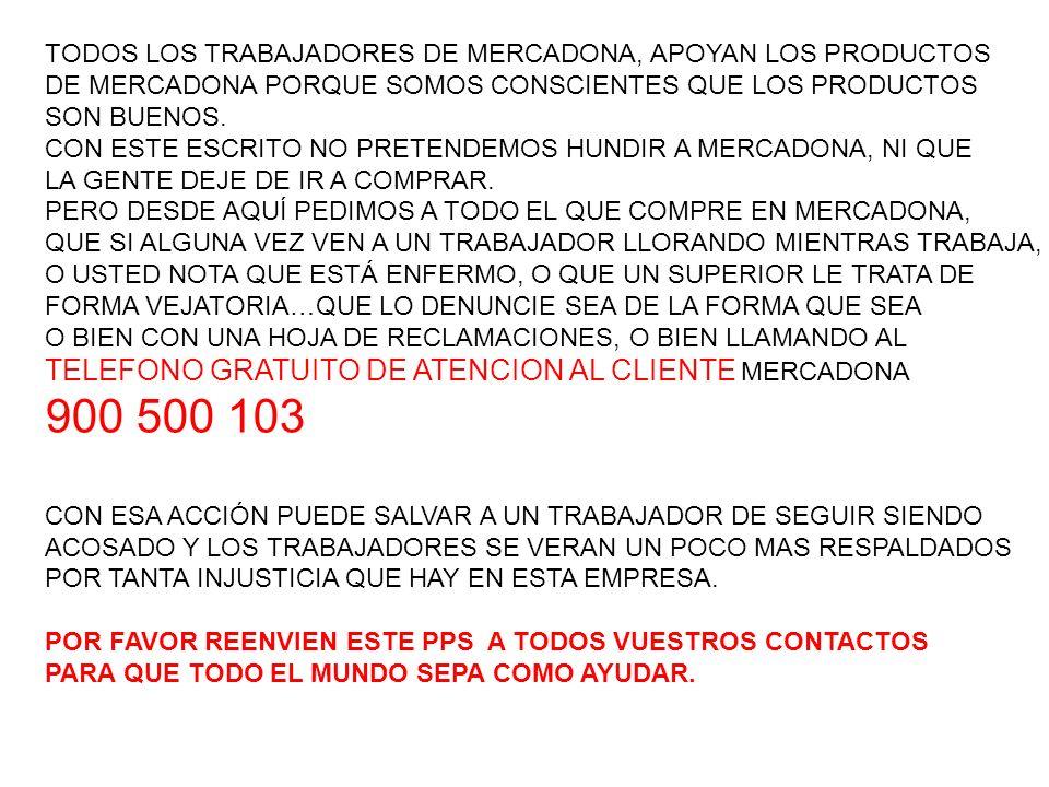 900 500 103 TELEFONO GRATUITO DE ATENCION AL CLIENTE MERCADONA
