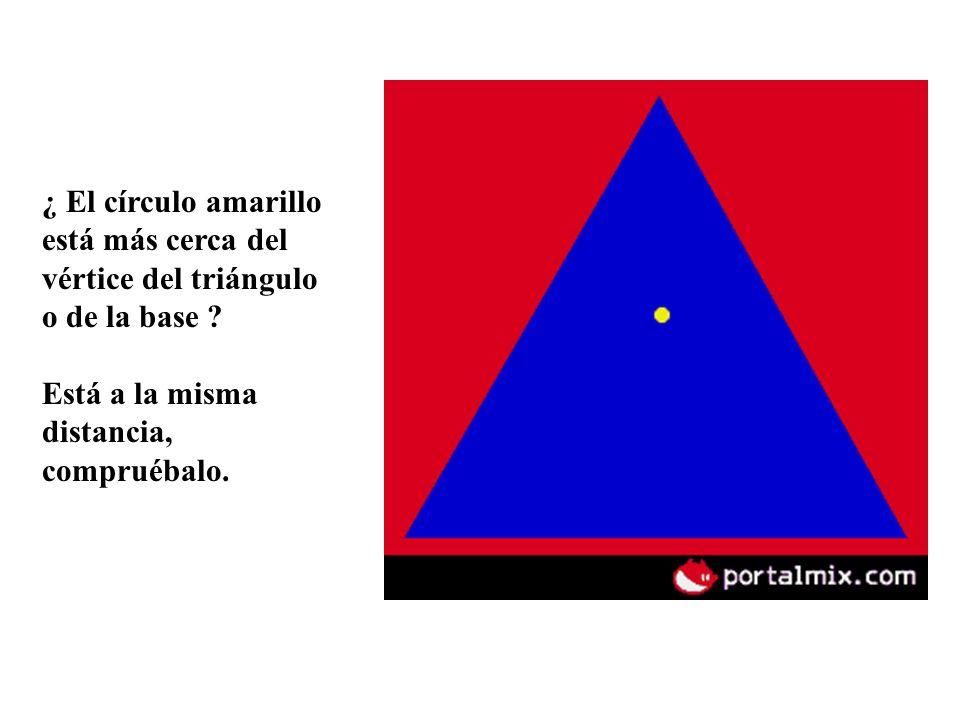 ¿ El círculo amarillo está más cerca del vértice del triángulo