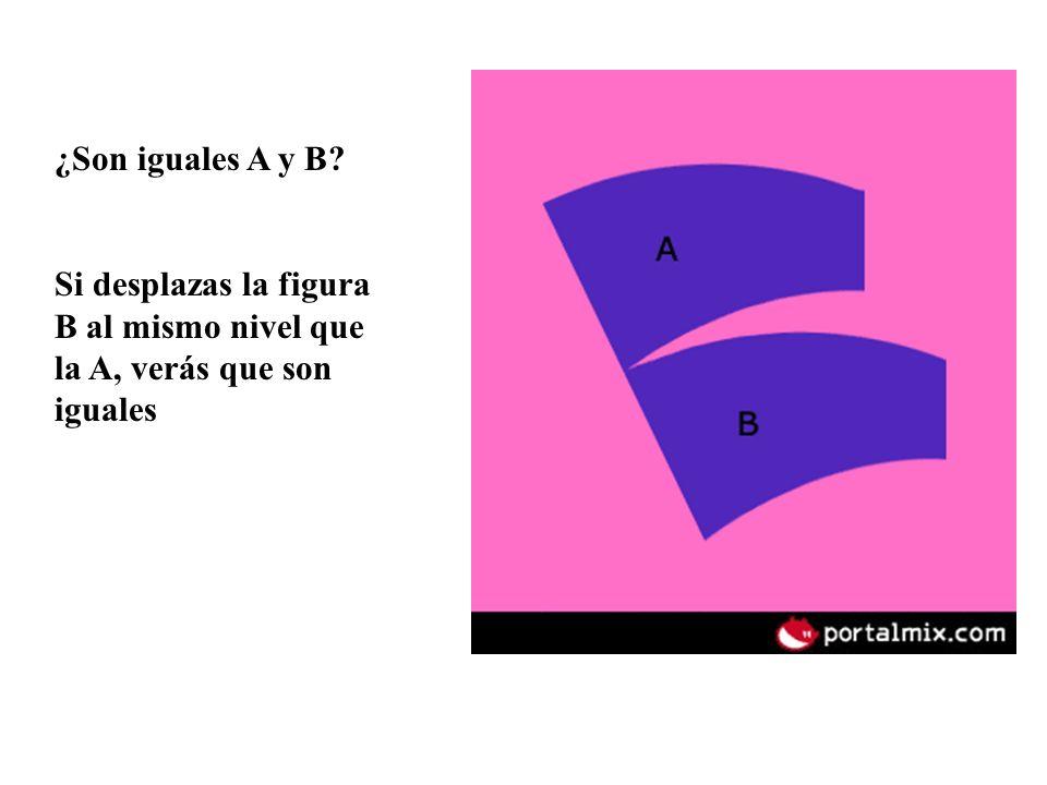 ¿Son iguales A y B Si desplazas la figura B al mismo nivel que la A, verás que son iguales