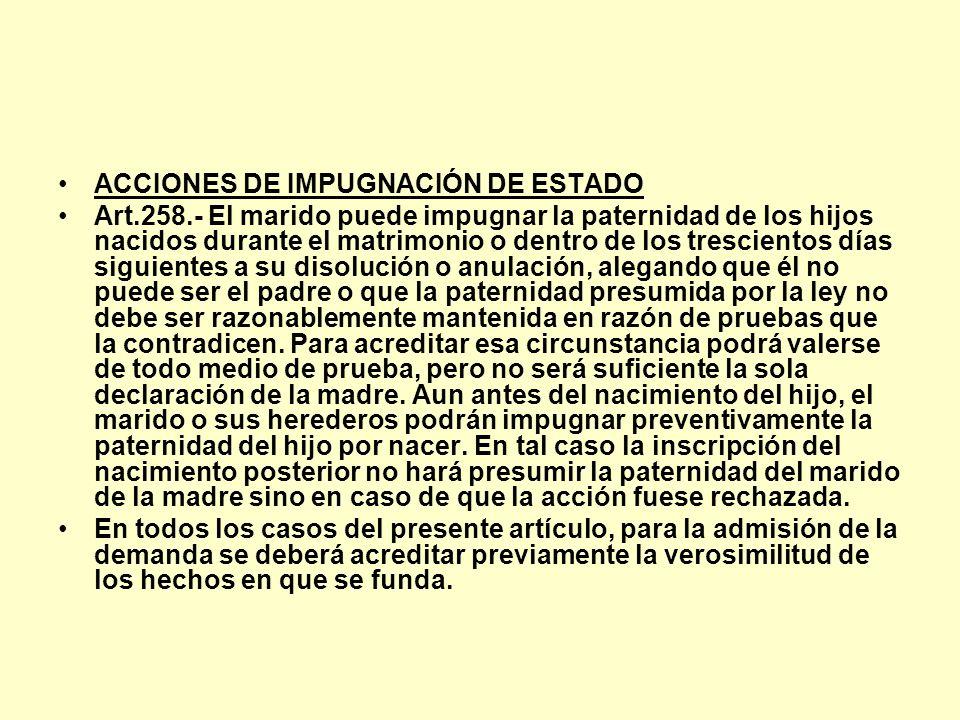 ACCIONES DE IMPUGNACIÓN DE ESTADO