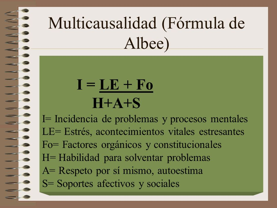 Multicausalidad (Fórmula de Albee)