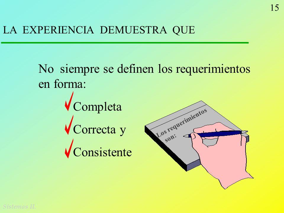 No siempre se definen los requerimientos en forma: Completa Correcta y
