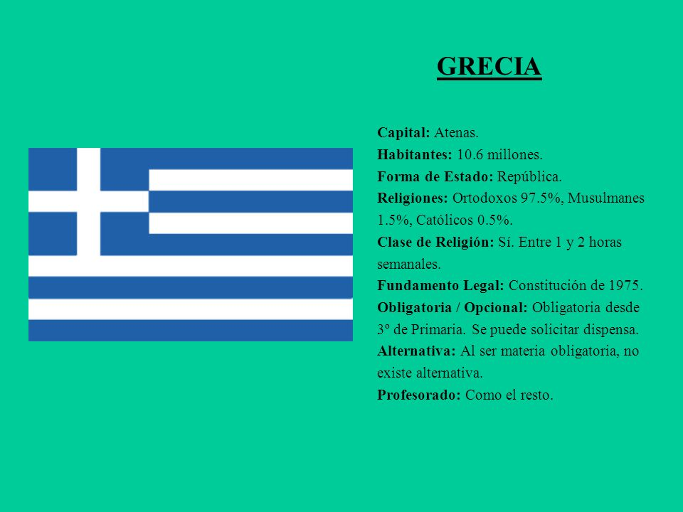 GRECIA Capital: Atenas. Habitantes: 10.6 millones.