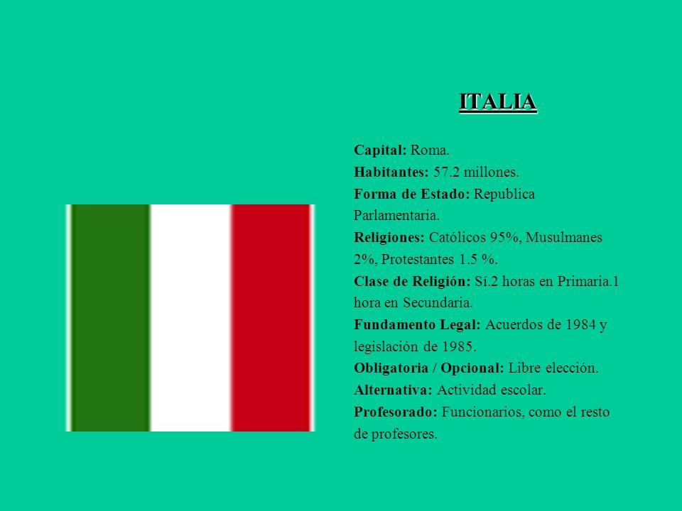 ITALIA Capital: Roma. Habitantes: 57.2 millones.