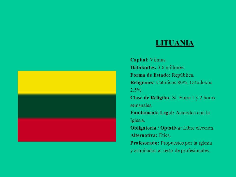 LITUANIA Capital: Vilnius. Habitantes: 3.6 millones.