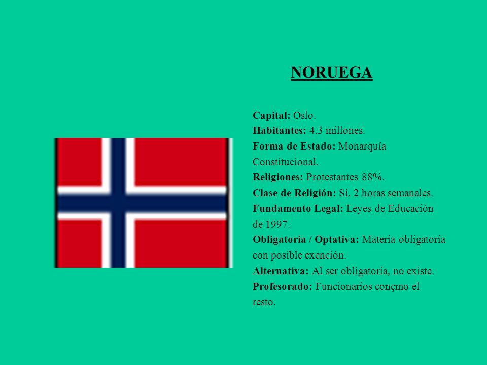 NORUEGA Capital: Oslo. Habitantes: 4.3 millones.