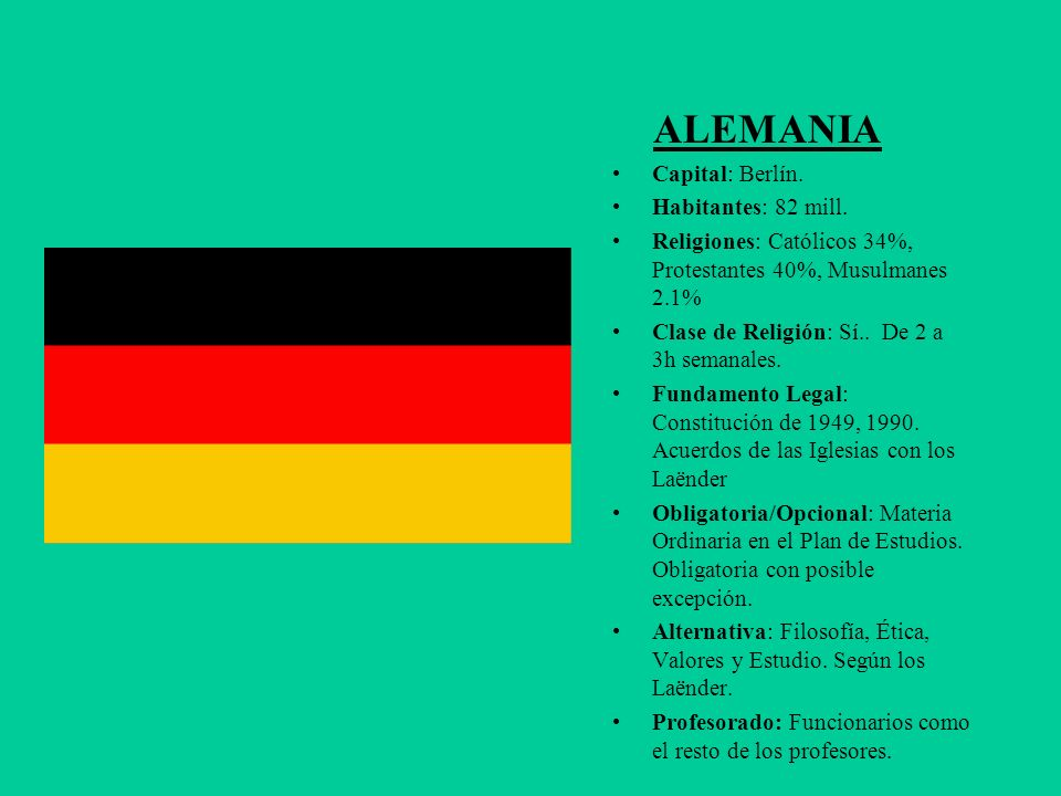 ALEMANIA Capital: Berlín. Habitantes: 82 mill.